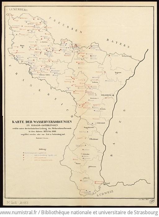 Elsass Karte.Karte Der Wasserversorgungen In Elsass Lothringen Welche Unter Der