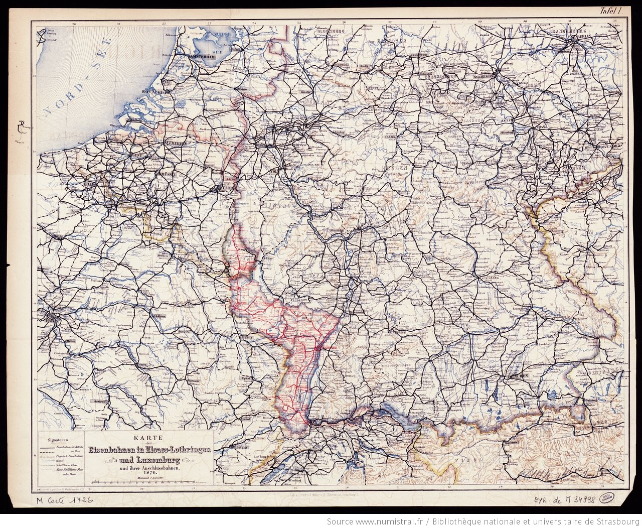 Lothringen Karte.Karte Der Eisenbahnen In Elsass Lothringen Und Luxemburg Und
