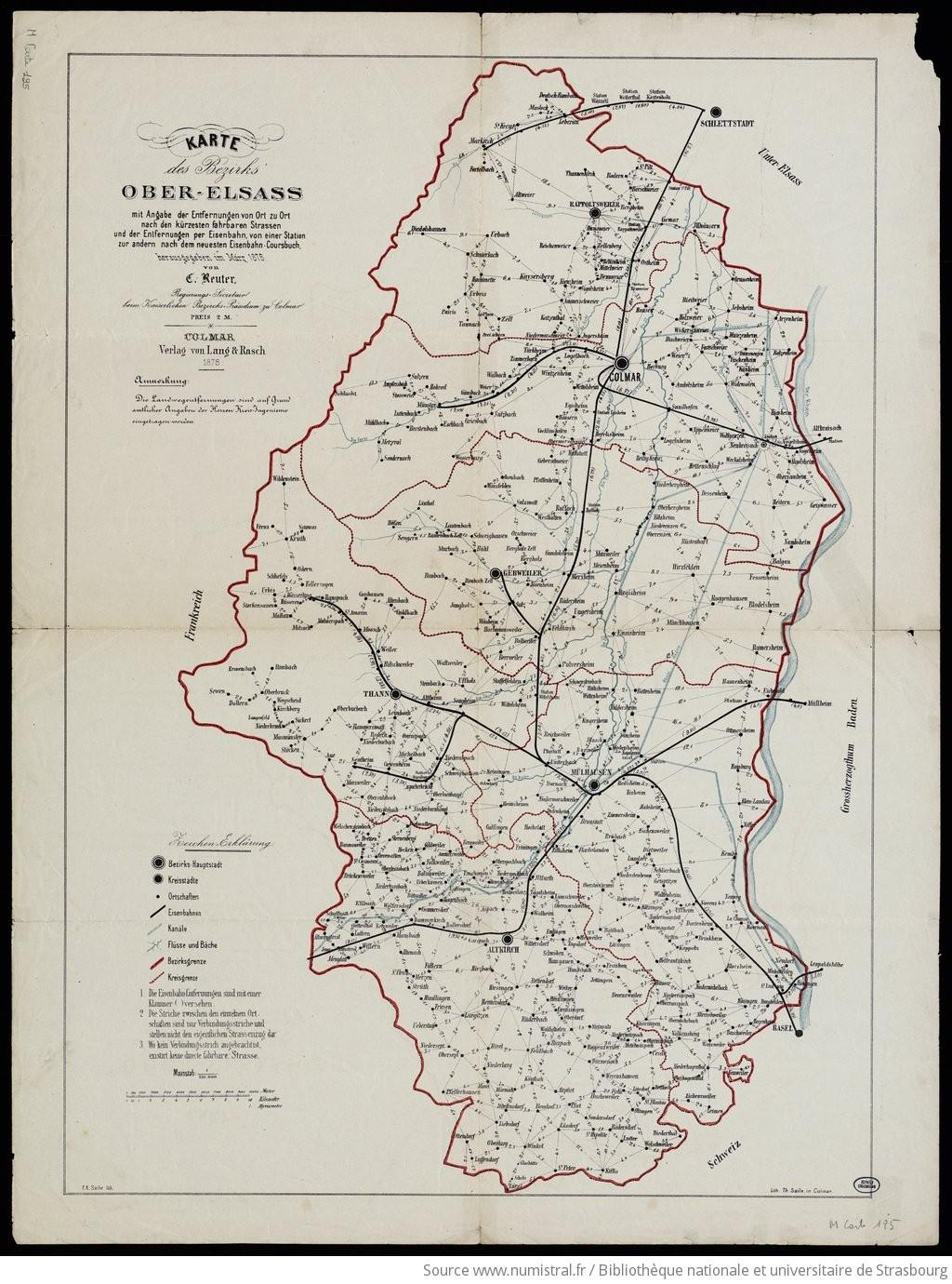 Elsass Auf Karte.Karte Des Bezirks Ober Elsass Mit Angabe Der Entfernungen Von Ort